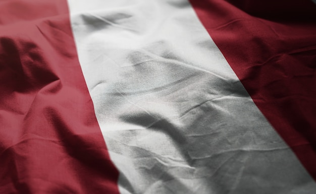 Peru flag rumpled close up