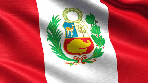Peru flag, with waving fabric texture