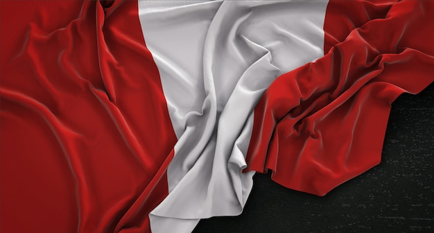Peru flag wrinkled on dark background 3d render