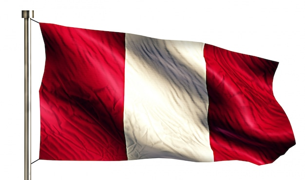 Peru national flag isolated 3d white background