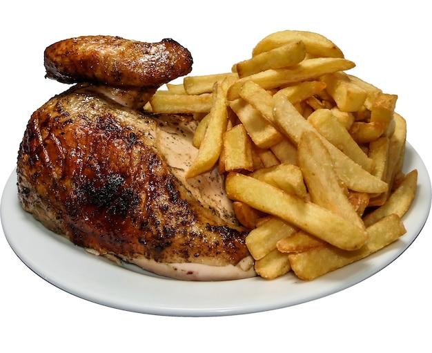 페루 음식 pollo a la brasa, 프렌치 프라이와 로티 세리 치킨