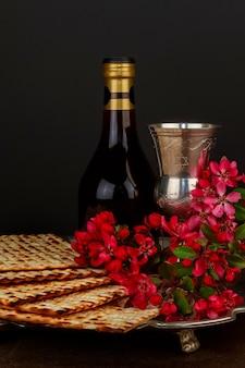 Pesach matzo  with wine and matzoh jewish passover bread