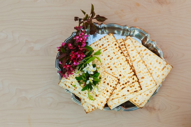 Pesach matzo  with wine and matzoh jewish passover bread