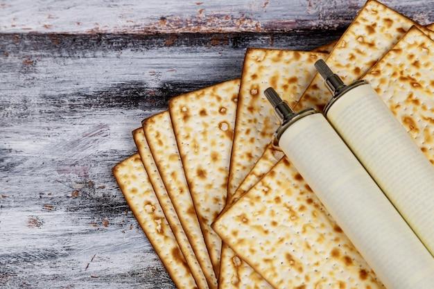 Pesah celebration and torah scroll during jewish passover holiday .