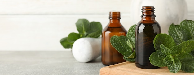 Pestle, medical bottles and mint on grey table, close up