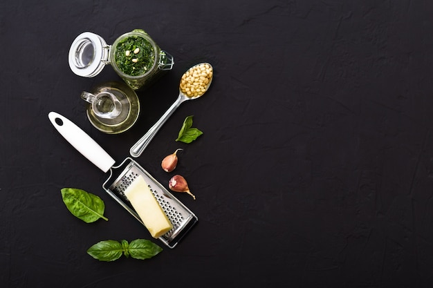 Pesto sauce ingredients pine nuts, basil, olive oil, parmesan