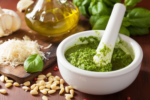 Pesto sauce and ingredients over wooden rustic table