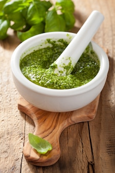 Pesto sauce and ingredients over wooden table