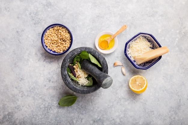 Pesto sauce in mortar
