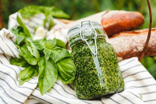 Pesto traditional italian sauce in glass jar