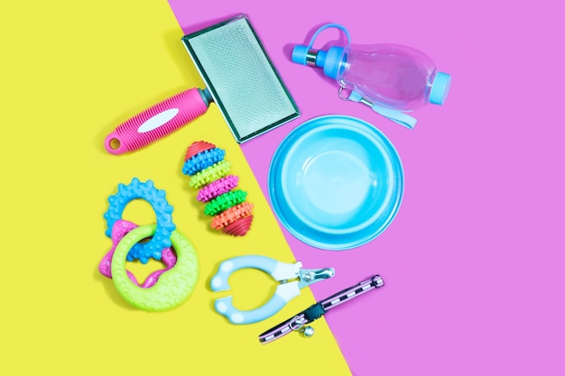 Pet accessories concept: bowl, toys, brush, collars and nail scissors