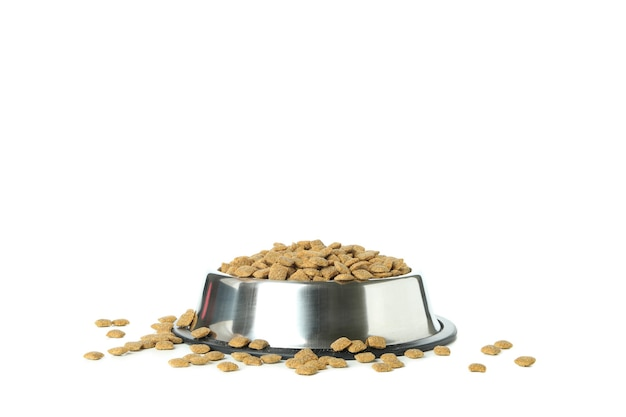 Pet bowl with feed isolated on white