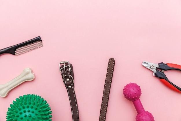 Уход за животными и концепция животных. игрушки и аксессуары для игры с собаками и дрессировки, изолированные на модной розовой пастели