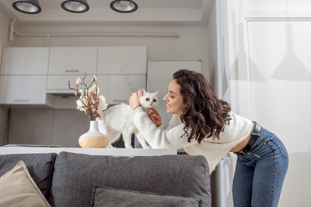 Домашний питомец. симпатичная домашняя кошка ласкает своего кота и смотрит на него с любовью
