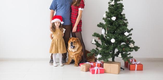 Домашнее животное, праздники и праздничная концепция - семья с собакой стоят возле елки крупным планом