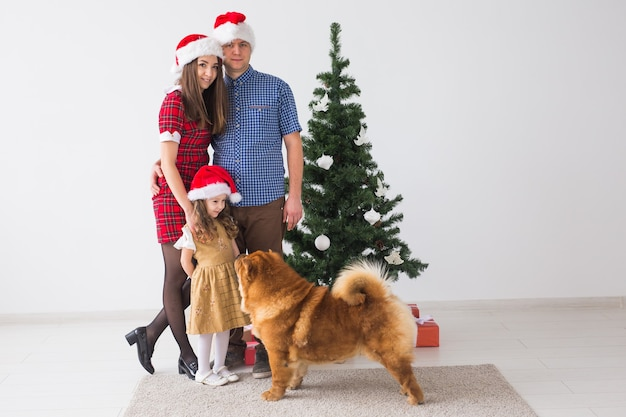 Домашнее животное, праздники и праздничная концепция - семья с собакой стоят возле елки.