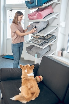 Pet store. girl in a beige tshirt choosing a pet bed for her dog