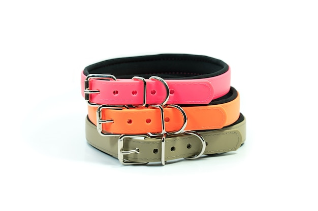 Pet supplies about rubber collars stack for pet on white background