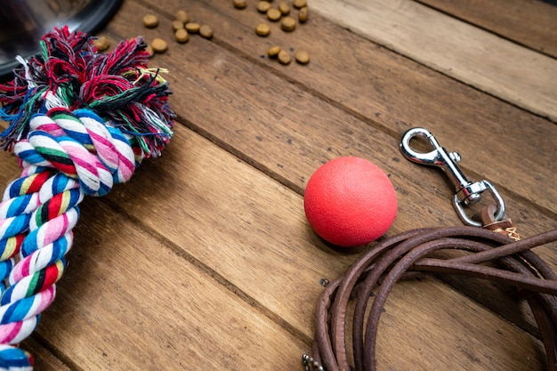 Pet toy and leashes on wooden table