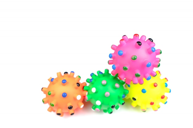 Pet toys on isolated white background.