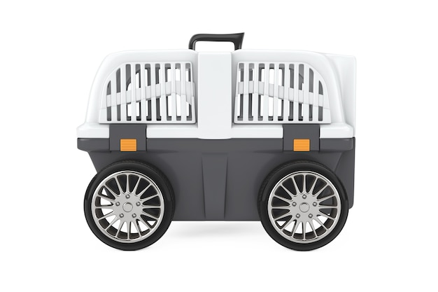 Pet travel plastic cage carrier box on car wheels on a white background. 3d rendering