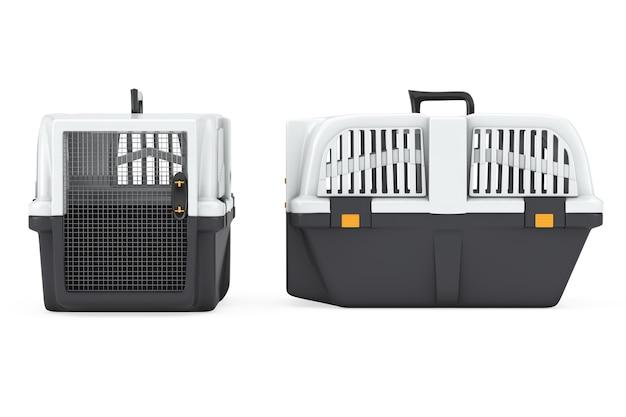 흰색 바탕에 애완 동물 여행 플라스틱 케이지 캐리어 상자. 3d 렌더링