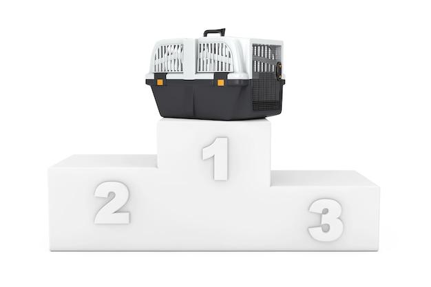 애완 동물 여행 플라스틱 케이지 캐리어 상자 위에 흰색 흰색 배경에 연단입니다. 3d 렌더링