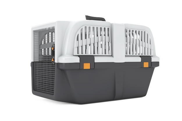 Pet travel plastic cage carrier box on a white background. 3d rendering