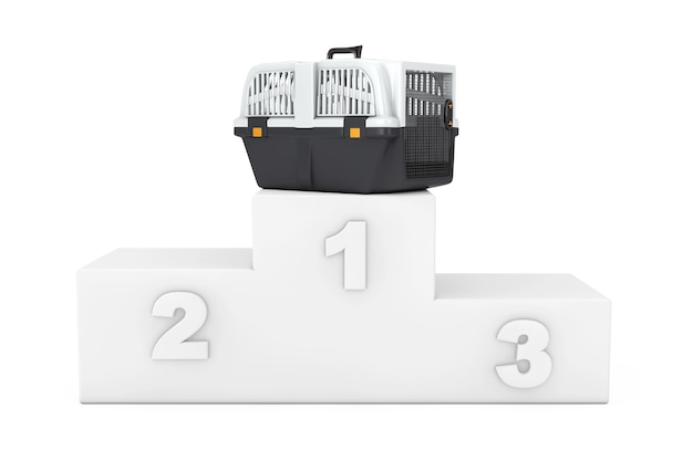 Pet travel plastic cage carrier box over white winners podium on a white background. 3d rendering