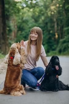 Прогулка с собаками кокер-спаниеля