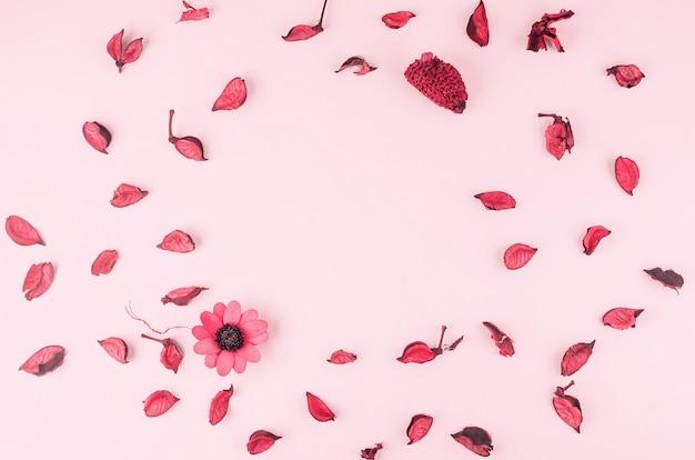 Лепестки на розовом столе
