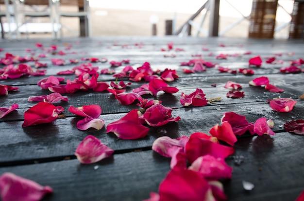 바닥에 꽃잎. 결혼식 후