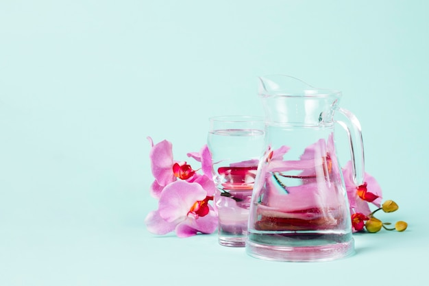 Petals of orchids with jug of water Free Photo