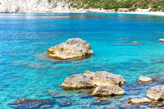 Petani 해변 해안 여름보기 kefalonia, 그리스
