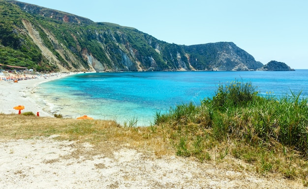 Petani 해변 여름보기 kefalonia, 그리스. 모든 사람들이 인식하지 못합니다.