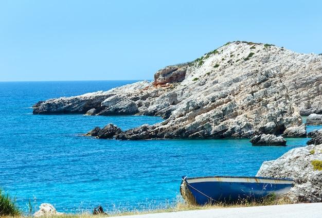 보트 kefalonia, 그리스와 petani 해변 여름보기