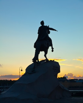 Peter the great in sunrise. saint petersburg