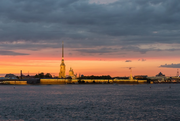 Peter and paul fortress in st. petersburg at sunset
