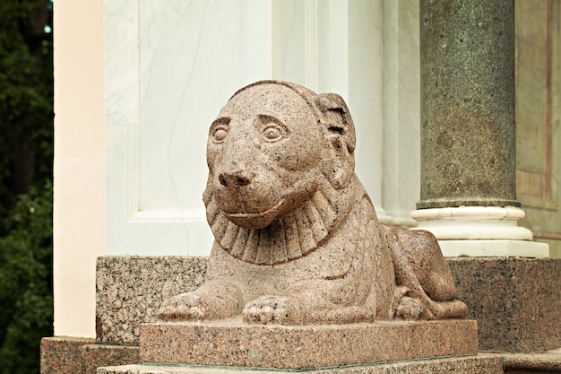 Peterhof palace saint petersburg russia. lion sculpture