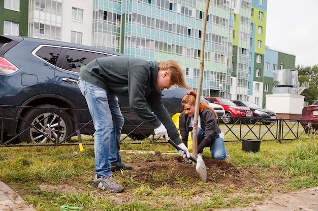 상트 페테르부르크, 러시아, 2020 년 9 월 : 땅에 삽 식물 나무 묘목이있는 제복을 입은 사람들. 영토의 고급화. 조경, 자연, 환경 및 생태의 개념. 사이트 공간 복사 프리미엄 사진