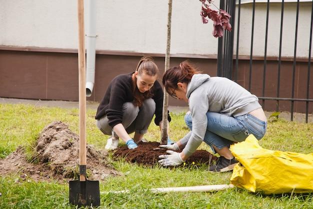 상트 페테르부르크, 러시아, 2020 년 9 월 : 땅에 삽 식물 나무 묘목이있는 제복을 입은 사람들. 영토의 고급화. 조경, 자연, 환경 및 생태의 개념. 사이트 공간 복사