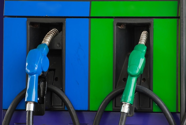 Petro pump refill nozzle, oil pump at gasoline station