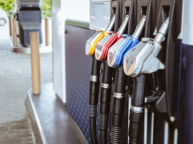 Petrol gas station with colorul fuel gasoline dispensers background