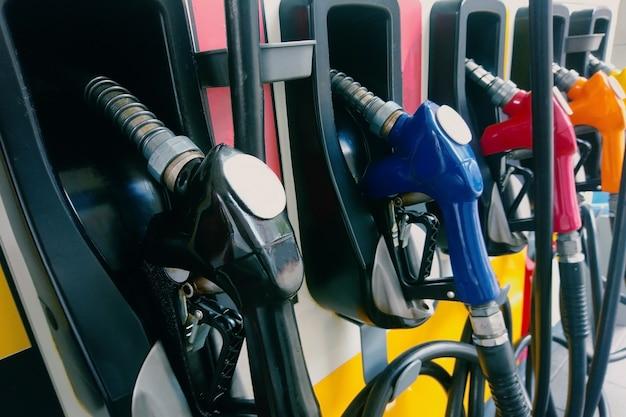 Petrol oil pump filling nozzles.