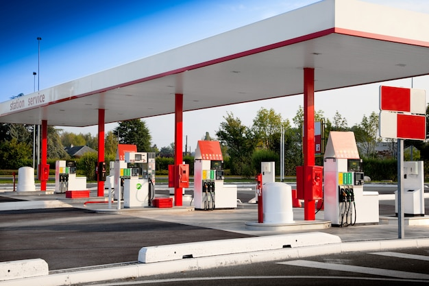Petrol station for self service fuel