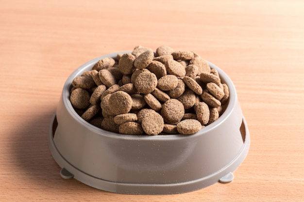 Pets food on wooden floor