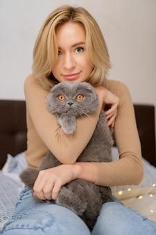 애완 동물, 아침, 편안함, 휴식 및 사람들 개념