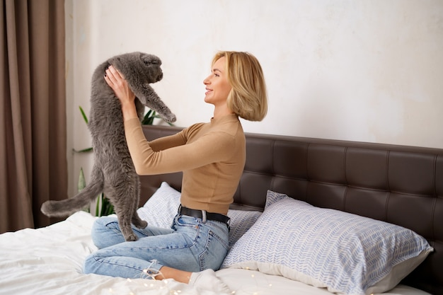 Pets, morning, comfort, rest and people concept