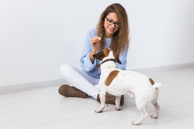 Pets owner concept - attractive cheerful female in blue sweater playing with her favourite pet
