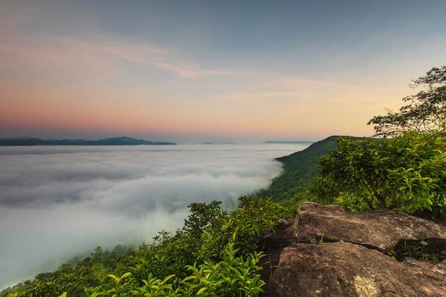 Pha-chom-mok, landscape sea of mist on the mountain in nongkhai province  thailand.